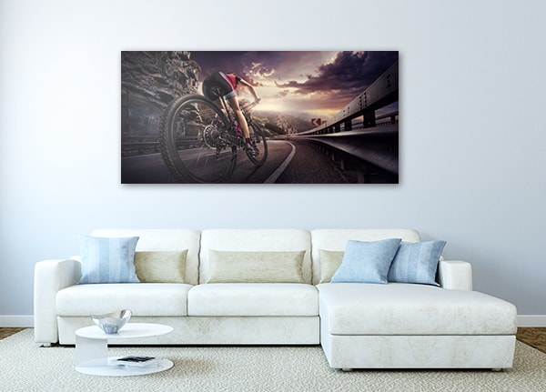 Cyclist on Sunset Artwork on the Wall