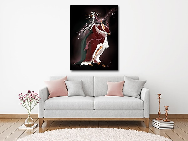 Dancing Geisha Art Print on the Wall