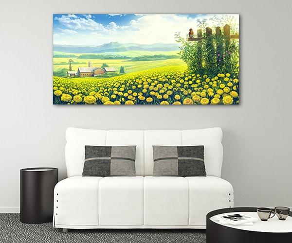 Dandelions Fields Canvas Prints