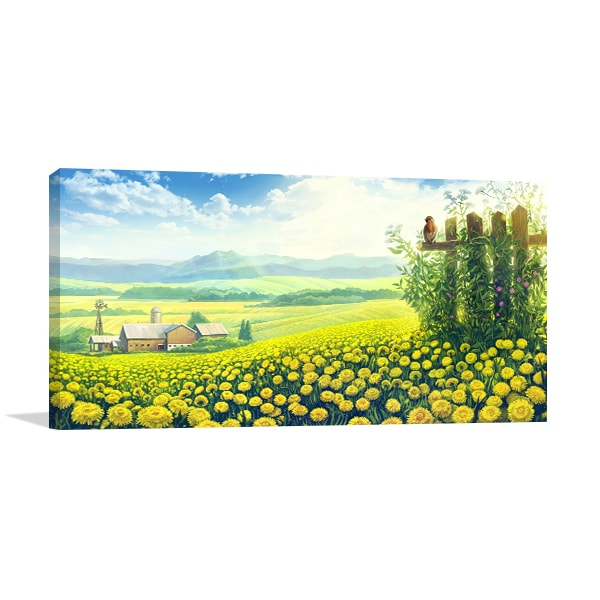Dandelions Fields Canvas Art Prints
