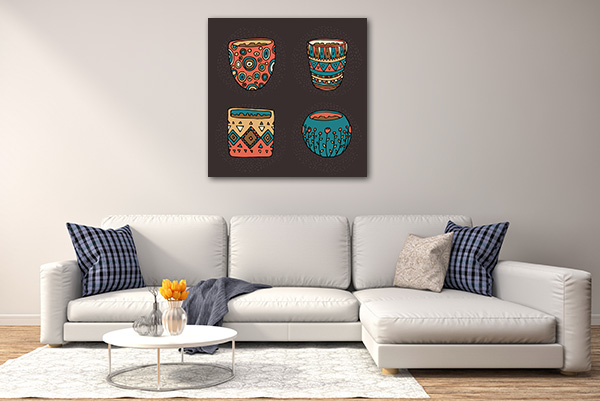Dark Color Pot Prints Canvas