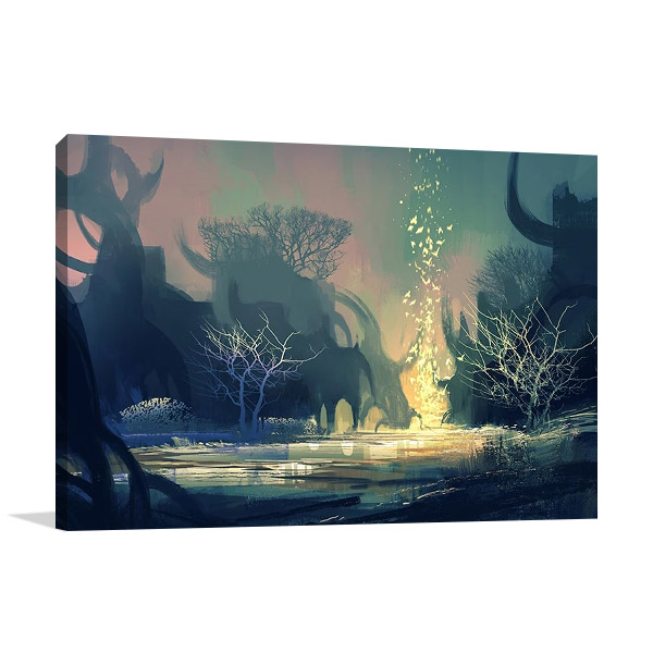 Dark Mysterious Forest Wall Print
