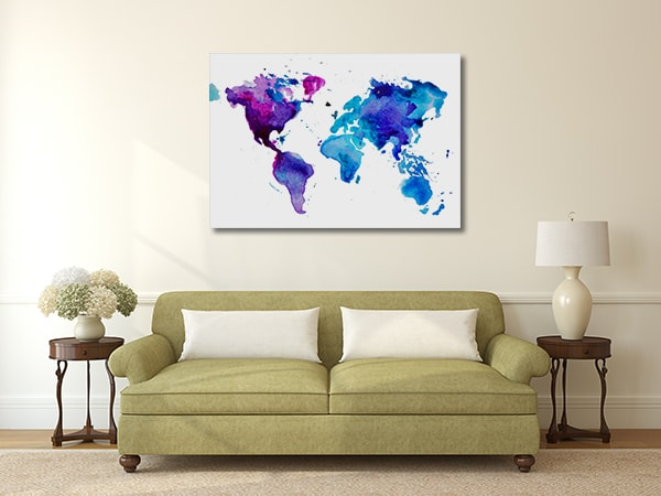 Dark Watercolor Map Canvas Prints