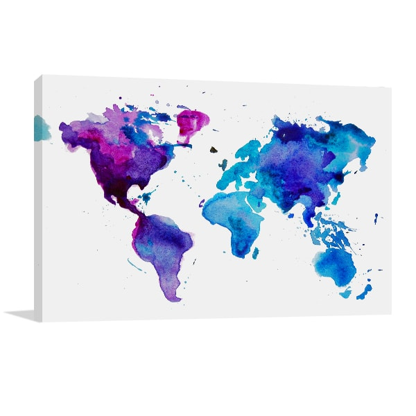Dark Watercolor Map Prints Canvas