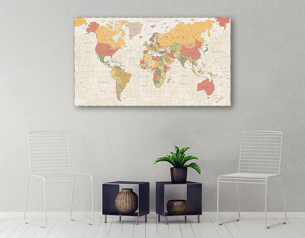 Detailed Vintage World Map Prints Canvas