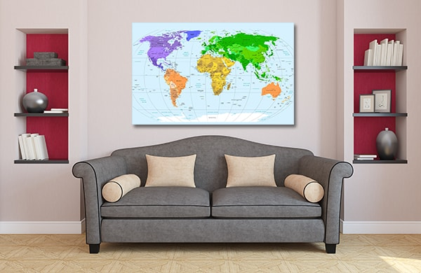 Detailed World Map Canvas Art