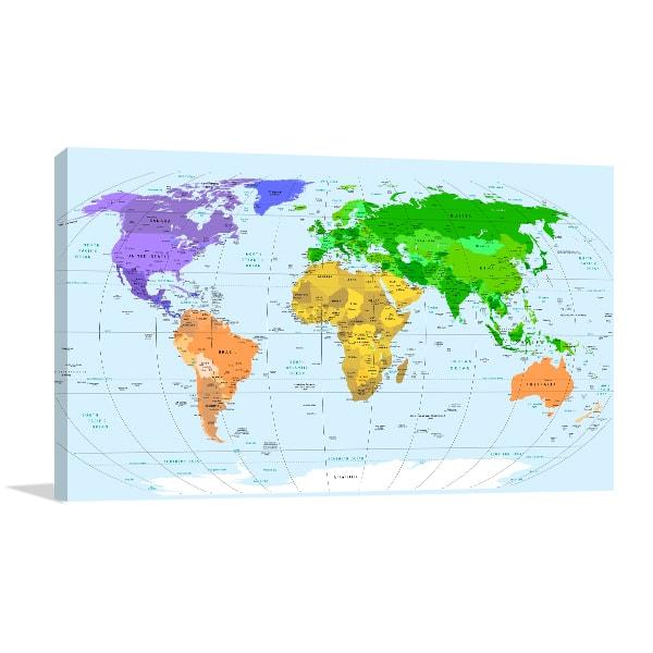Detailed World Map Print Artwork