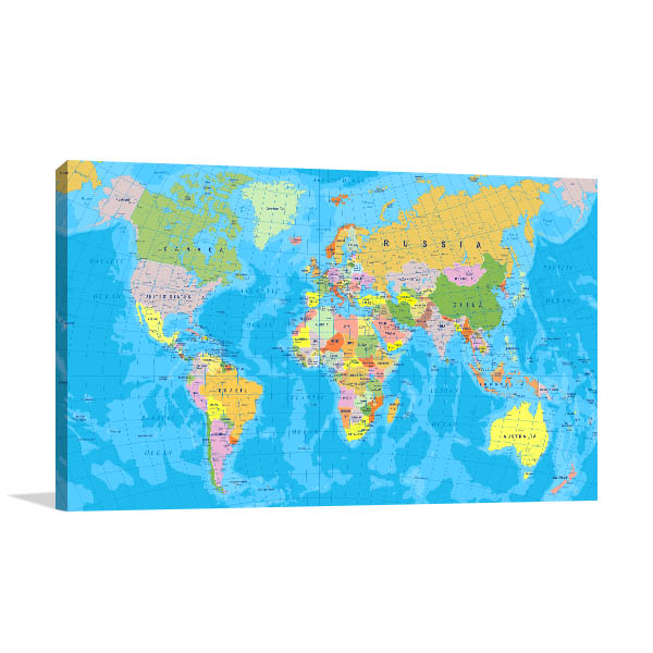 Detailed World Map Wall Art