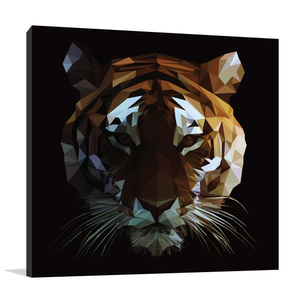 Digital Tiger Canvas Wall Art Print