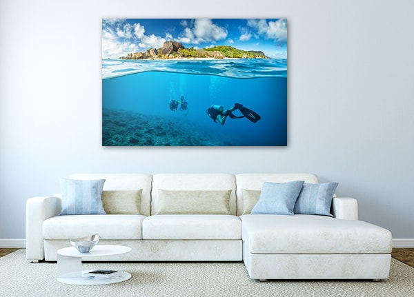 Divers and Corals Canvas Art Print on the Wall