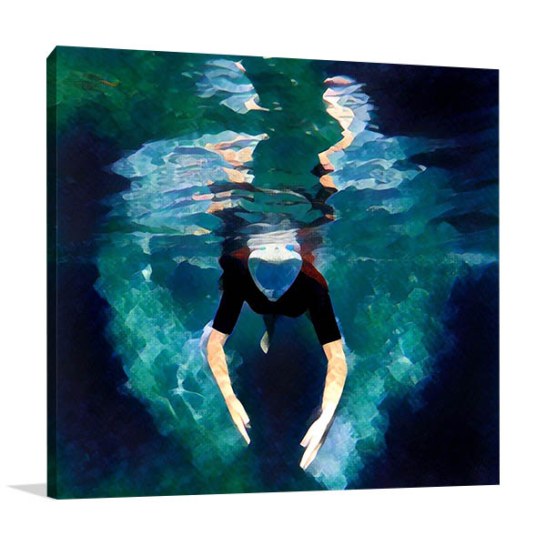 Diving in the Ocean Canvas Prints