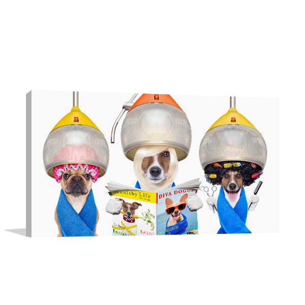 Dogs At Hairdresser Canvas Art