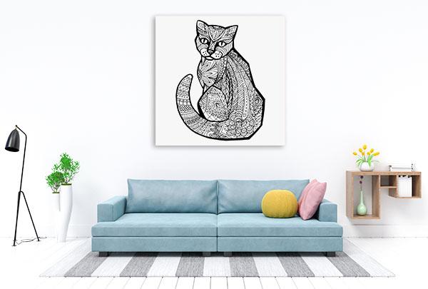 Doodle Cat Canvas Art Prints