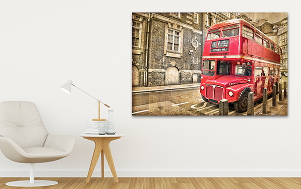 Double Decker Art Wall Print on the wall