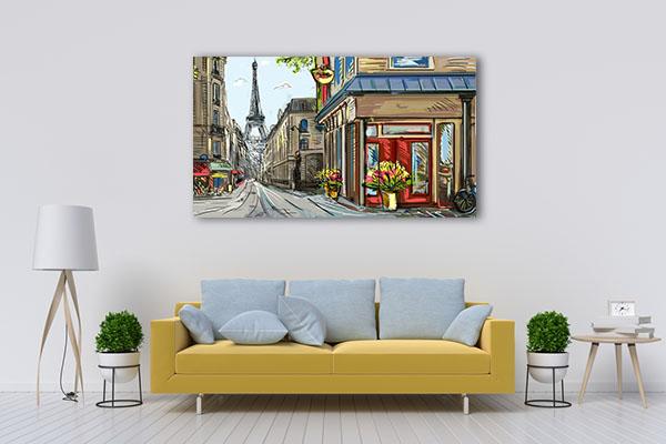Downtown Streets of Paris Prints Canvas