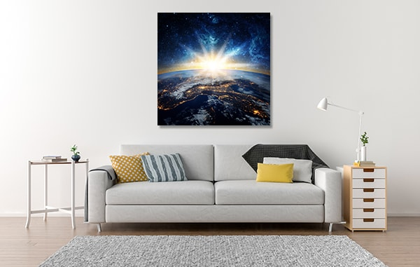 Earth and Galaxy Canvas Art