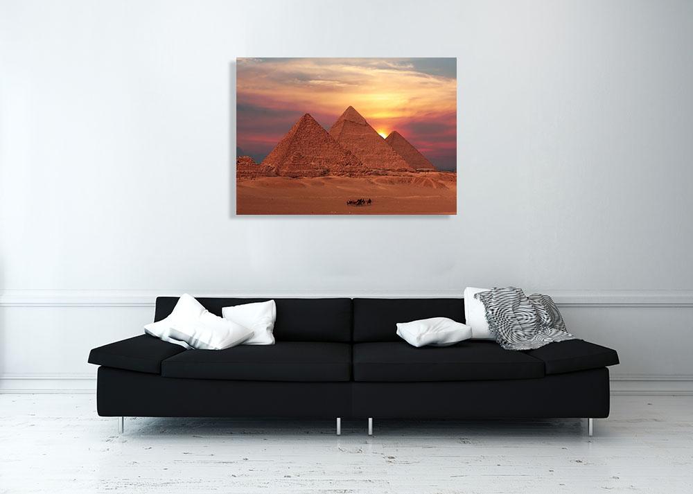 Pyramids Sunset Canvas Photography Print