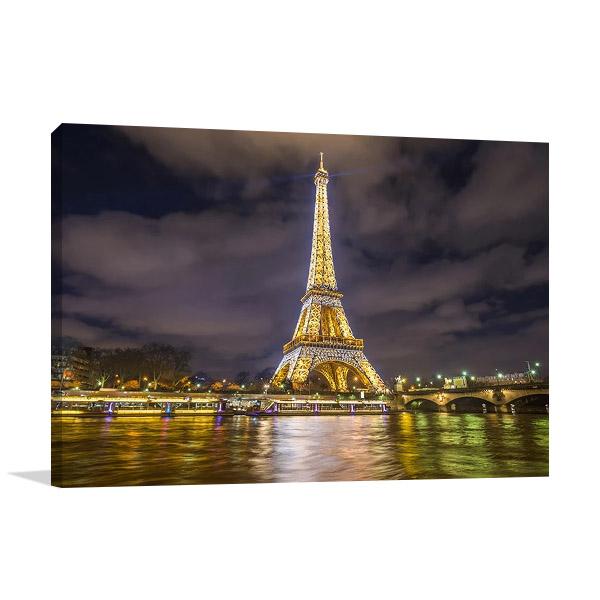 Eiffel Tower Night Lights Print