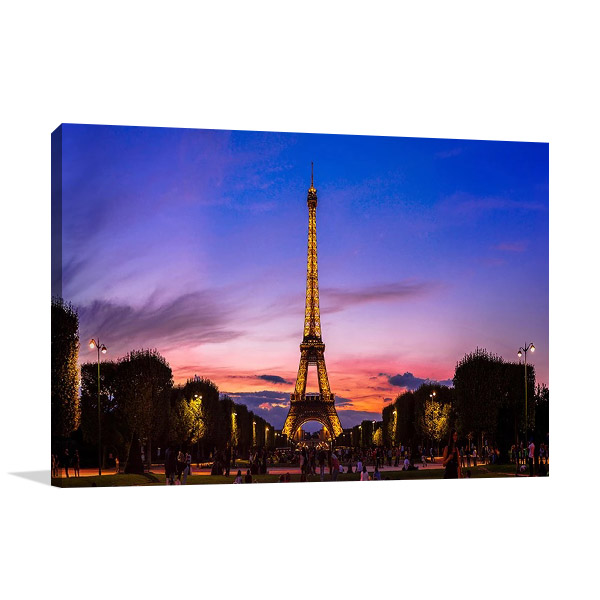 Eiffel Tower Sunset Print on Canvas