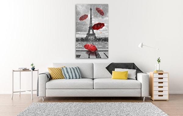 Eiffel Tower & Umbrellas Canvas Prints