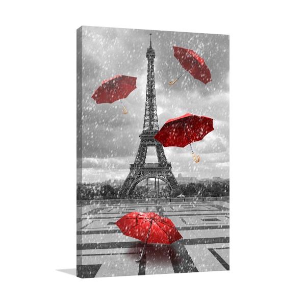 Eiffel Tower & Umbrellas Wall Art Print
