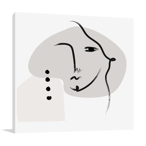 Elegant Face Line Canvas Art Prints