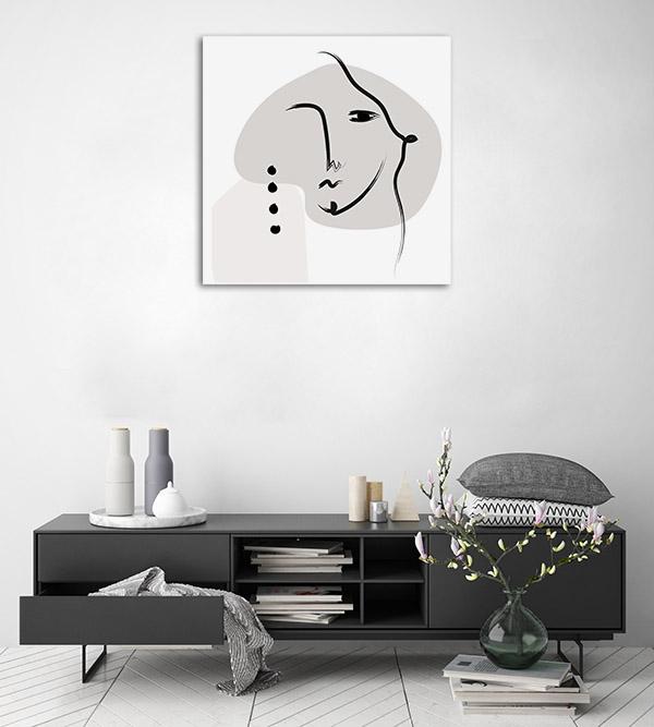 Elegant Face Line Picture Canvas