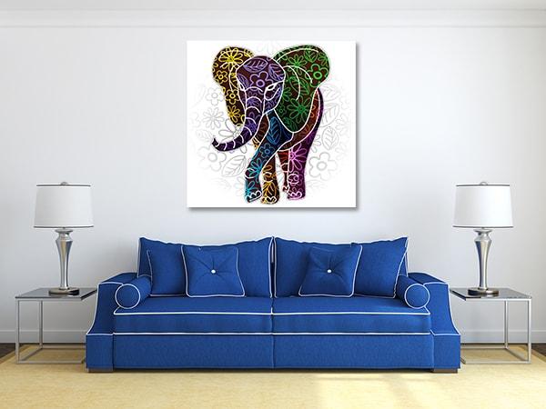 Elephant Floral Canvas Prints