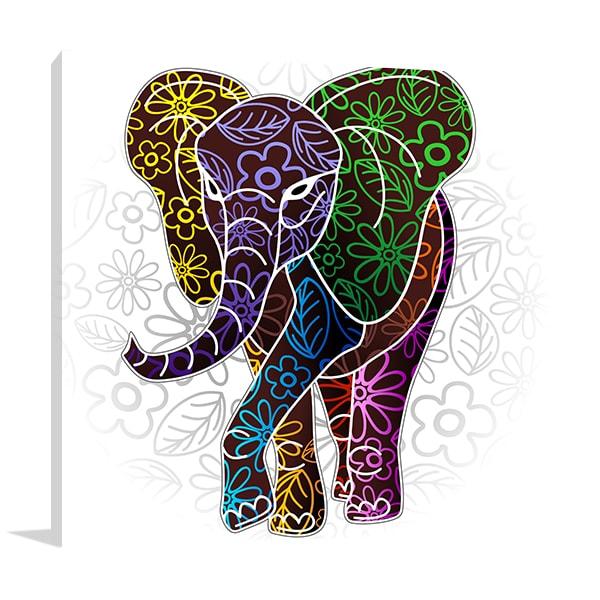 Elephant Floral Print Artwork
