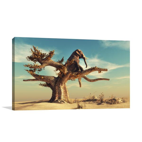 Elephant In Surreal Landscape Art Prints