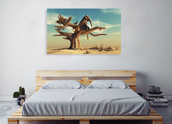Elephant In Surreal Landscape Canvas Art