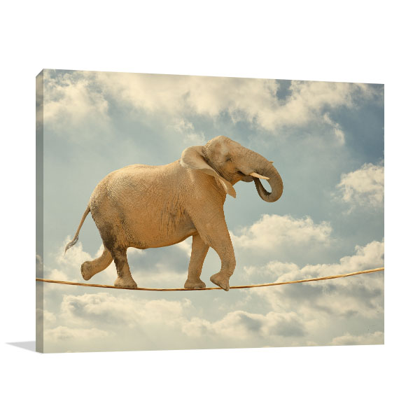Elephant Walking On Rope Print Artwork