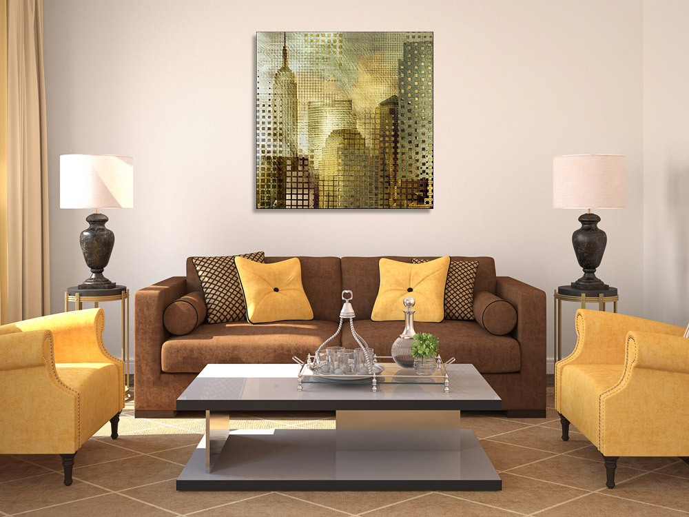 Gold Square Wall Canvas Art