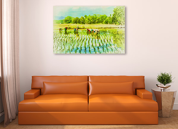 Farmers Planting Rice Canvas Art Prints