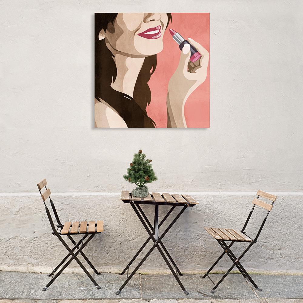 Pink Lipstick Fashion Wall Art Print