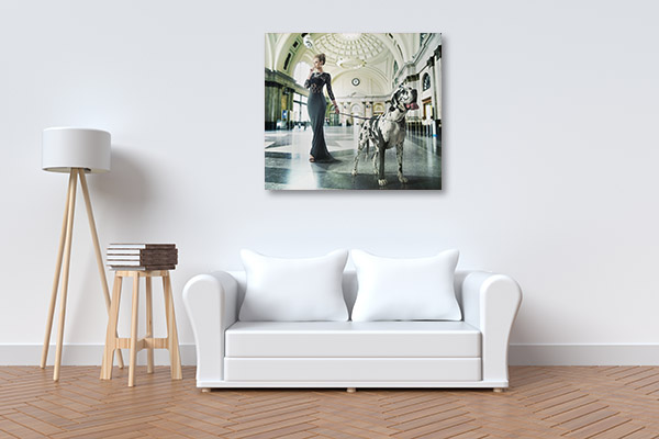 Fashionable Woman with Dog Canvas Art