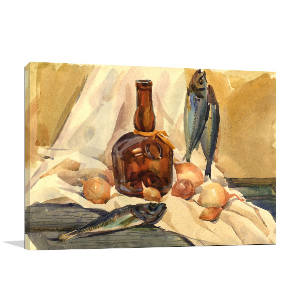 Fish And Bottle Canvas Art Prints