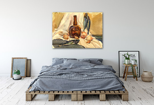Fish And Bottle Prints Canvas