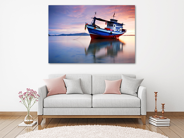 Fish Boat Wall Art Print on the wall