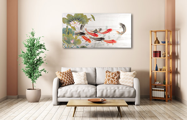 Fish of Asian Ink Prints Canvas