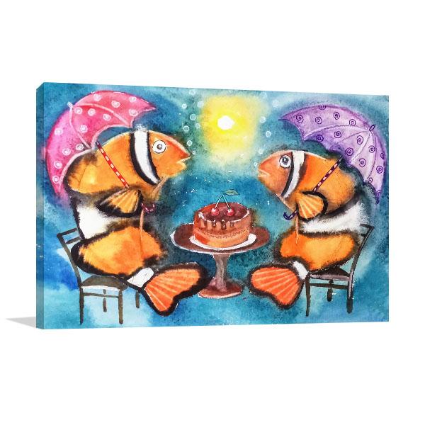 Fish With Umbrellas Canvas Art Prints