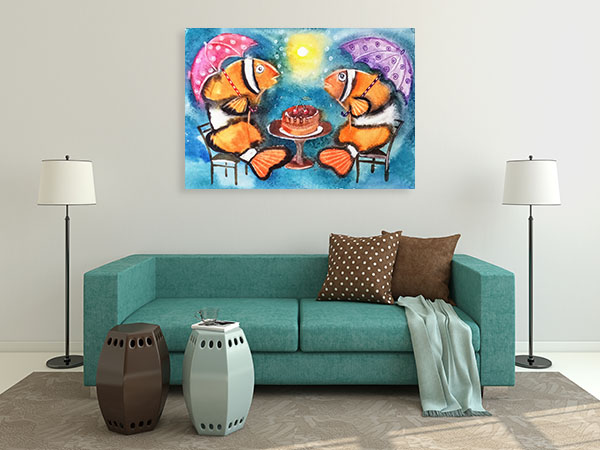 Fish With Umbrellas Print Artwork
