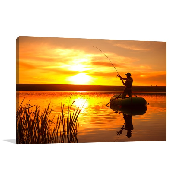 Fishing on Pond Canvas Art