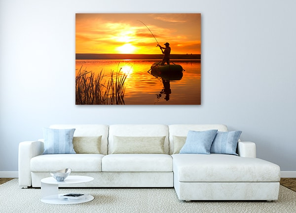 Fishing on Pond Print Canvas on the Wall