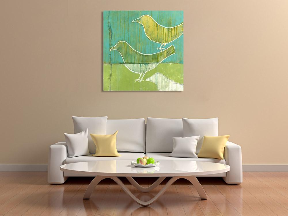 Green Tones Bird Art on Canvas
