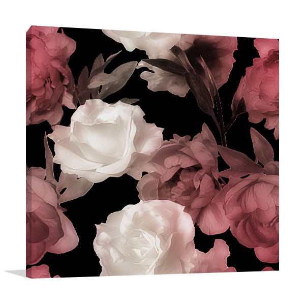 Floral in Monochrome Pattern Wall Artwork