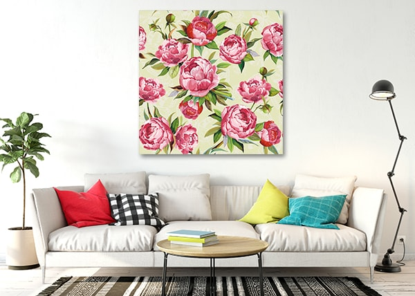 Floral Romance Canvas Art Print on the Wall