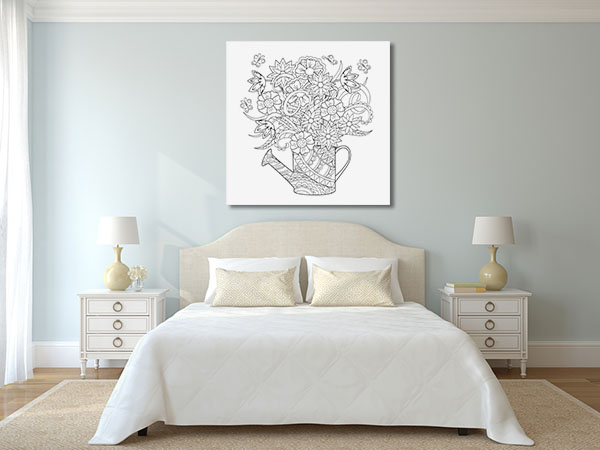Flower Watering Can Prints Canvas
