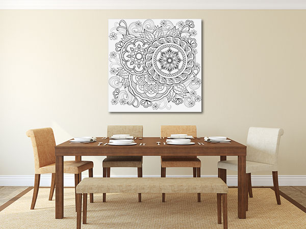 Flowers and Mandalas Canvas Prints