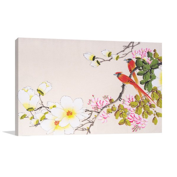 Flowers and Two Birds Canvas Prints
